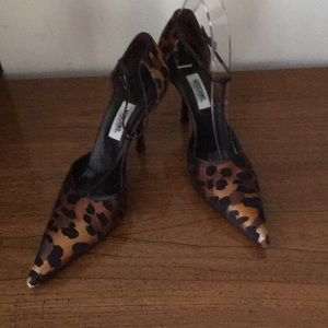 Moschino sexy leopard silk t-strap stiletto shoes